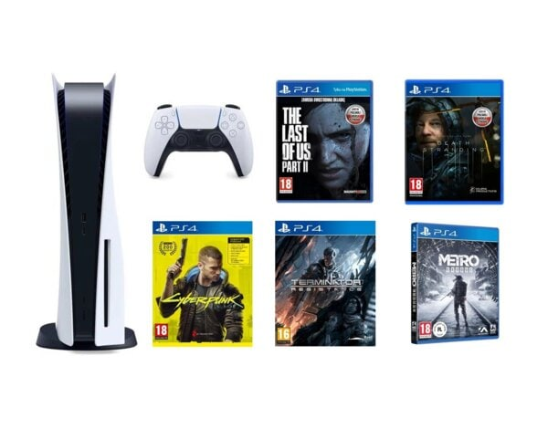 Konsola SONY PlayStation 5 + The Last of Us Part II + Death Stranding + Cyberpunk 2077 + Terminator: Resistance + Metro Exodus