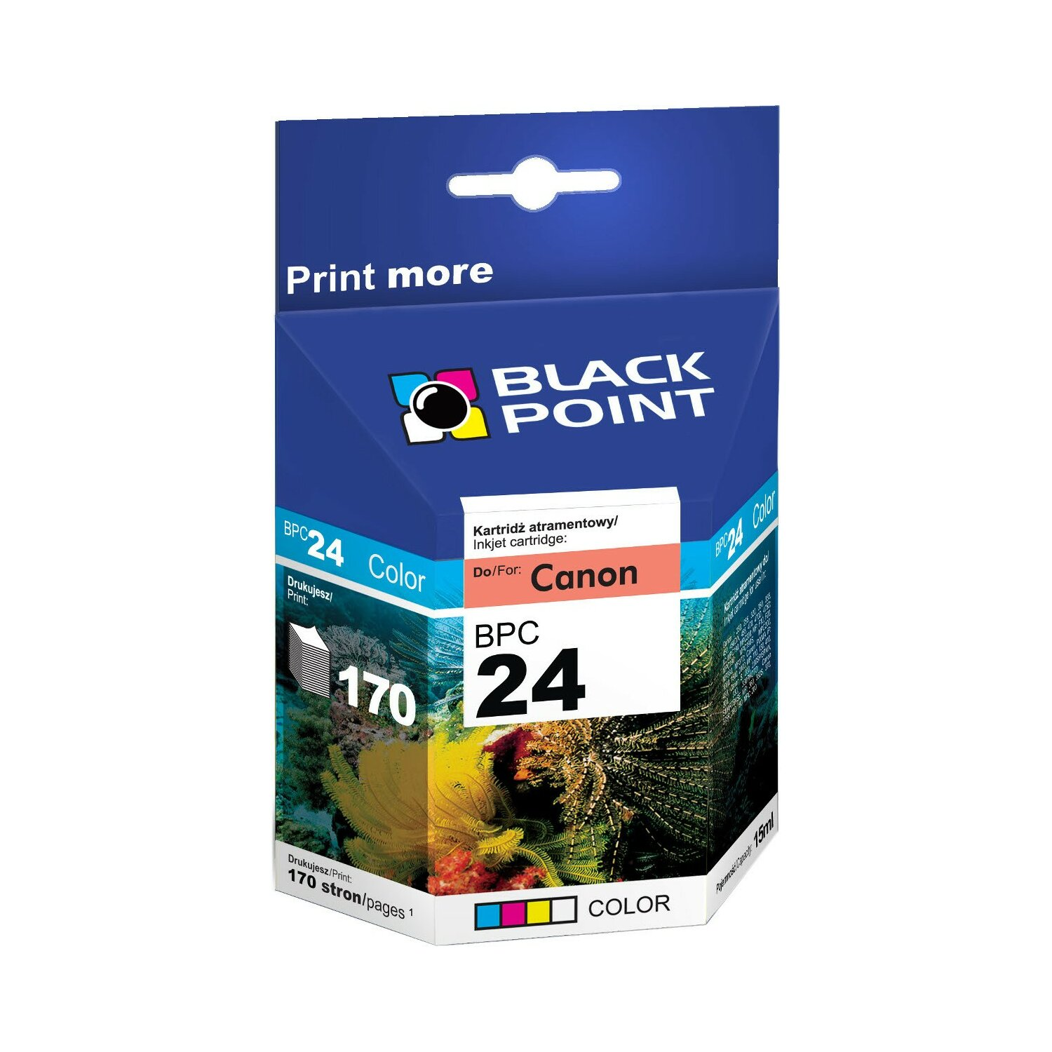 Tusz BLACK POINT BPC24 Zamiennik Canon BCI-24C