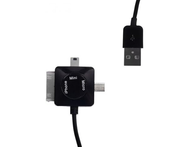 Kabel WHITENERGY USB - microUSB/miniUSB/iPhone4 Czarny 1m